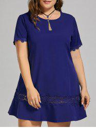 Plus Size Lace Crochet Panel T-shirt Dress