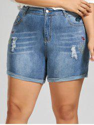 Plus Size Embroidered Mini Denim Shorts