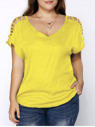 Plus Size V Neck Ripped Sleeve Tee