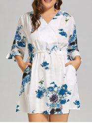 Plus Size Linen Ink Painting  Dress with Flare Sleeves