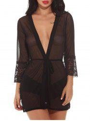 See-Through Mesh Sleepwear Outfits - BLACK