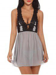 Low Cut Lace See Through Babydolls Sleepwear - GRAY