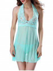 Halter Mesh See-Through Babydoll
