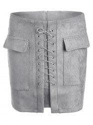 Lace Up Pocket Suede Mini Bodycon jupe - Gris S