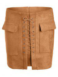 Lace Up Pocket Suede Mini Bodycon Skirt