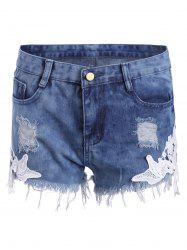Lace Panel Ripped Denim Shorts -