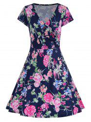 Short Sleeve Floral Surplice Dress