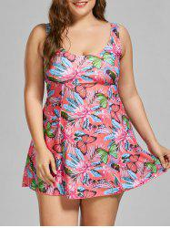 Padded Butterfly Floral Print Plus Size Swimdress