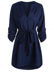 V Neck High Low Long Sleeve Dress - BLUE