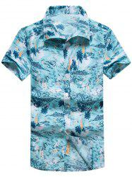 Coconut Palm Printed Hawaiian Shirt - LAKE BLUE