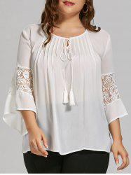 Plus Size Sheer  Bohemian Chiffon Top with Lace Trim