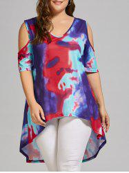Plus Size Tie Dye High Low  Cold Shoulder T-shirt - MULTICOLOR
