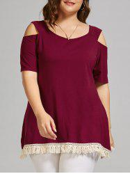 Plus Size Open Shoulder Long T-shirt with Tassel Trim