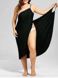 Beach Cover-up Plus Size Wrap Dress - BLACK