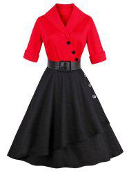Vintage Color Block Buttoned A LineDress - RED