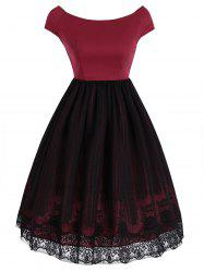 Robe superposée Vintage Lace Panel Overlay - Rouge S