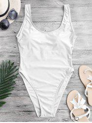 Backless High Cut One Piece Swimwear - WHITE L