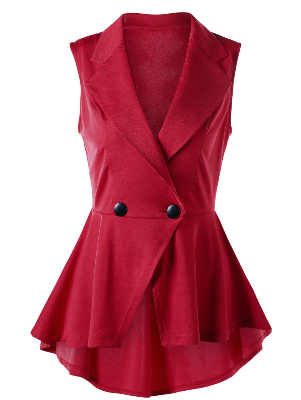 Sleeveless Notched Collar High Low Hem BlouseWOMEN<br><br>Size: XL; Color: RED; Occasion: Formal,Party; Style: Vintage; Material: Polyester,Spandex; Shirt Length: Long; Sleeve Length: Sleeveless; Collar: Notched Collar; Pattern Type: Solid; Embellishment: Button; Season: Summer; Weight: 0.2900kg; Package Contents: 1 x Blouse;