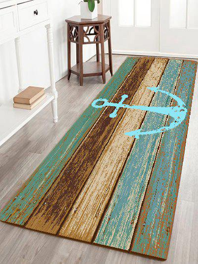 Deck Anchor Pattern Water Absorption Indoor Outdoor Area RugHOME<br><br>Size: W24 INCH * L71 INCH; Color: CYAN; Products Type: Bath rugs; Materials: Flannel; Style: Vintage; Shape: Rectangle; Package Contents: 1 x Area Rug;