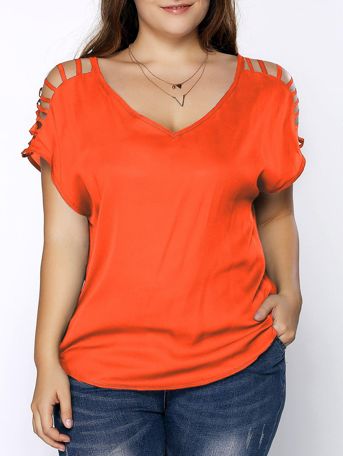 4d971687f90 59% OFF   2019 Plus Size V Neck Ripped Sleeve Tee