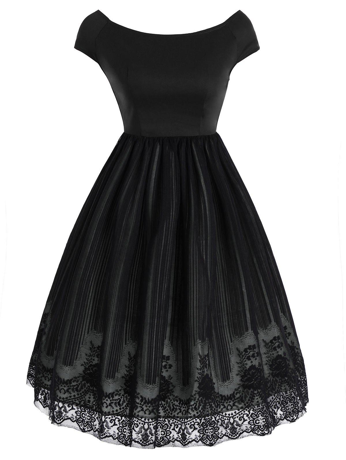 Store Vintage Lace Panel Overlay Dress
