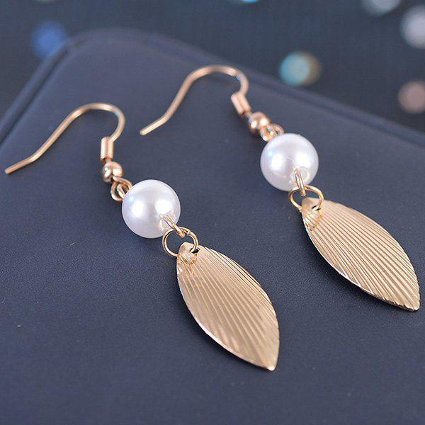Faux Pearl Metallic Engraved Leaf Hook EarringsJEWELRY<br><br>Color: GOLDEN; Earring Type: Drop Earrings; Gender: For Women; Metal Type: Alloy; Style: Trendy; Shape/Pattern: Others; Length: 9CM; Weight: 0.0100kg; Package Contents: 1 x Earrings(Pair);