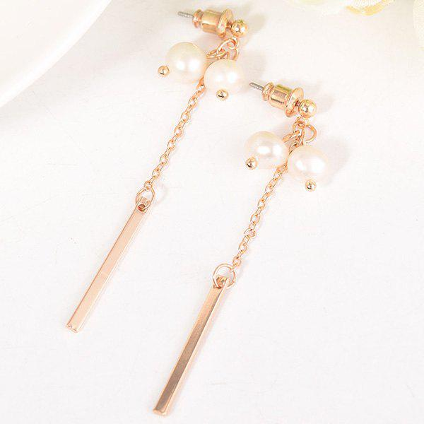 Trendy Long Metal Stick Double Artificial Pearl Earrings