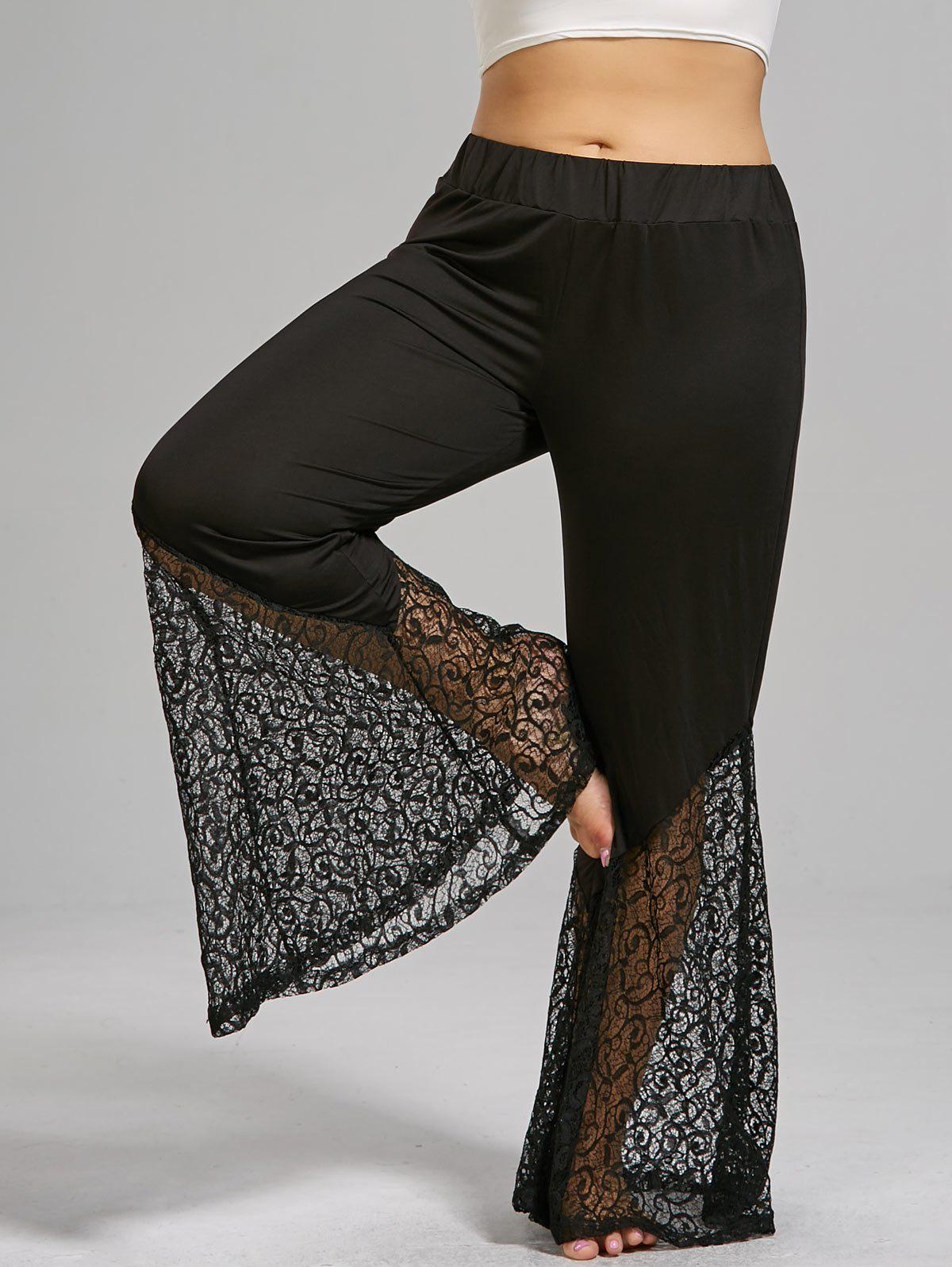 Plus Size Lace Crochet Panel Bell Bottom PantsWOMEN<br><br>Size: 2XL; Color: BLACK; Style: Fashion; Length: Ninth; Material: Cotton,Polyester; Fit Type: Boot Cut; Waist Type: High; Closure Type: Elastic Waist; Pattern Type: Solid; Embellishment: Hollow Out,Lace; Pant Style: Flare Pants; Weight: 0.3300kg; Package Contents: 1 x Pants;