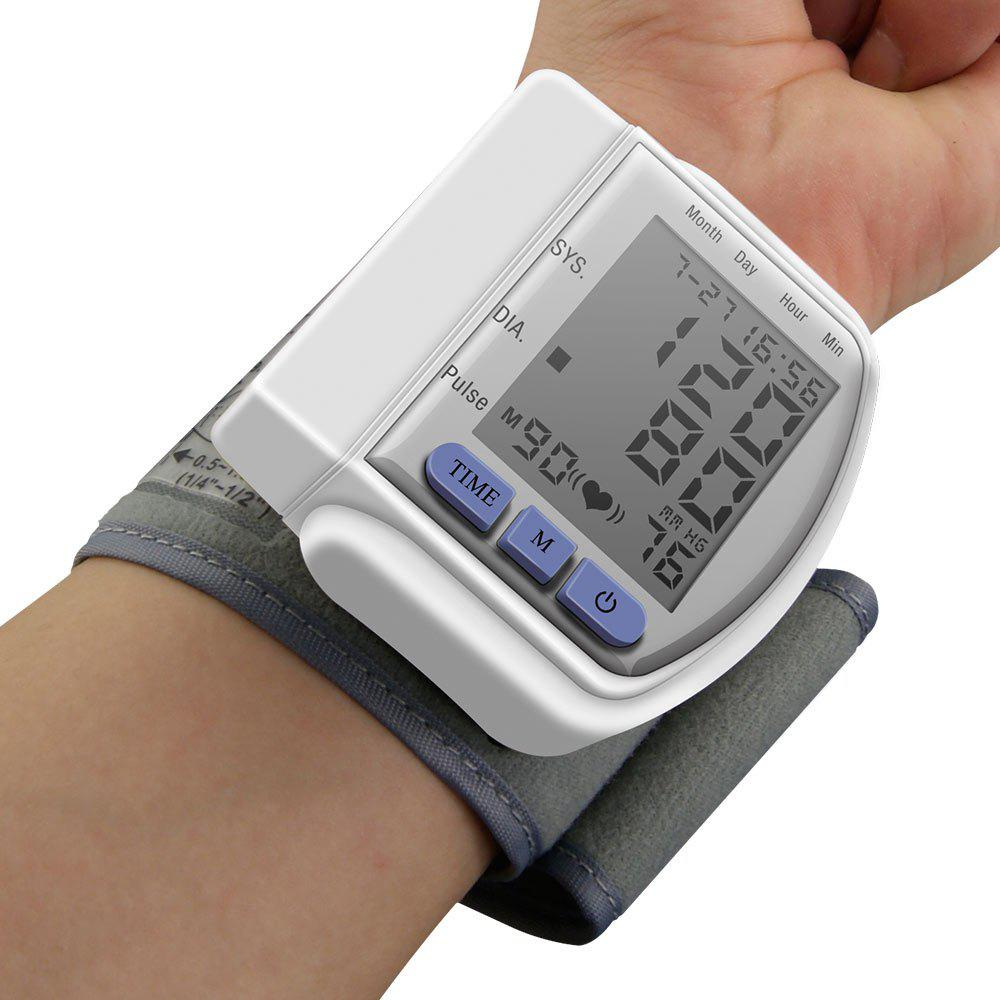 Health Care Digital Upper Automatic Wrist Blood Pressure MonitorHOME<br><br>Color: WHITE; Products Type: Blood Pressure; Style: Casual; Size(CM): 7.1*7.3*3.2 CM (wristlet not included); Package Contents: 1 x Blood Pressure Monitor;