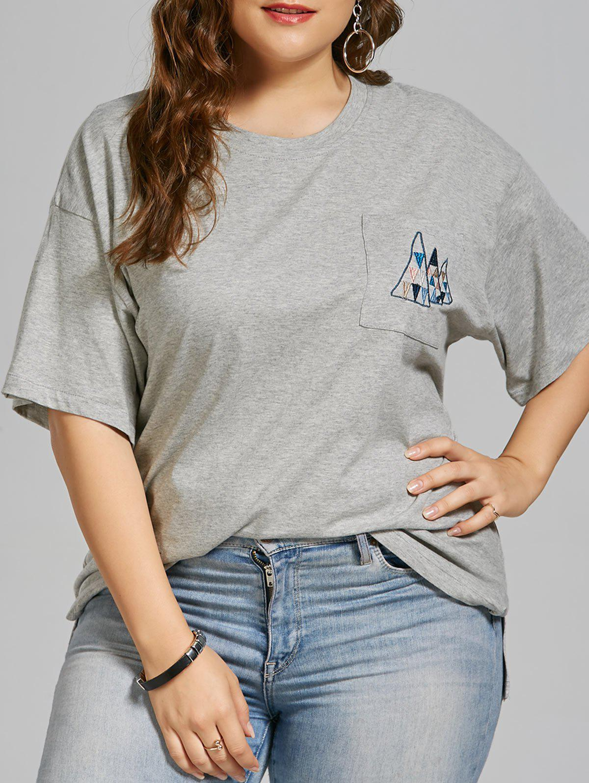 Fashion Plus Size Geometric Embroidered Simple Pocket T-shirt