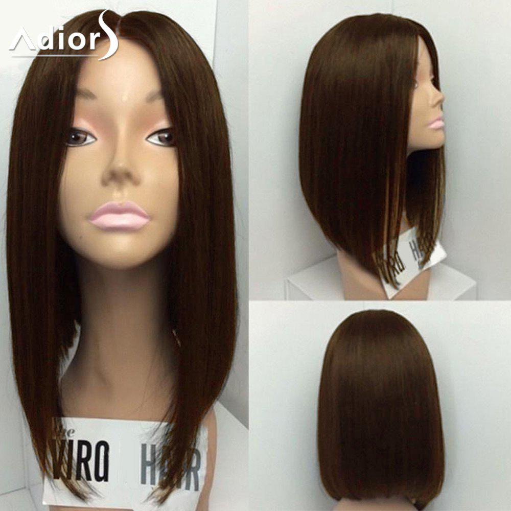 Adiors Medium Center Part Straight Bob Synthetic WigHAIR<br><br>Size: 14INCH; Color: BROWN; Type: Full Wigs; Cap Construction: Capless; Style: Straight; Material: Synthetic Hair; Bang Type: Middle; Length: Medium; Length Size(Inch): 14; Weight: 0.2000kg; Package Contents: 1 x Wig;