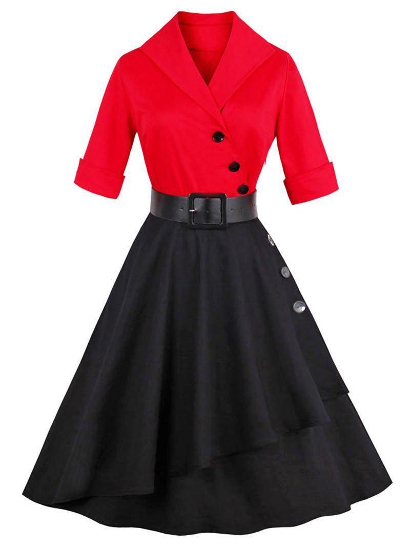 Vintage Color Block Buttoned A LineDressWOMEN<br><br>Size: M; Color: RED; Style: Vintage; Material: Cotton,Polyester; Silhouette: A-Line; Dresses Length: Knee-Length; Neckline: Shawl Collar; Sleeve Length: 3/4 Length Sleeves; Embellishment: Button; Pattern Type: Patchwork; With Belt: Yes; Season: Fall,Spring,Summer; Weight: 0.4500kg; Package Contents: 1 x Dress   1 x Belt;