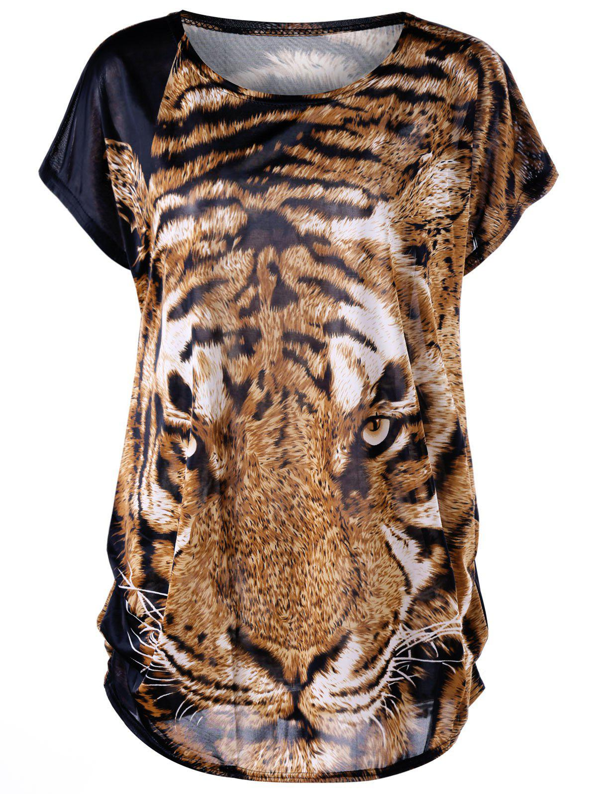 Tiger Print Plus Size Baggy TopWOMEN<br><br>Size: ONE SIZE; Color: TIGER PRINT; Material: Polyester,Spandex; Shirt Length: Long; Sleeve Length: Short; Collar: Round Neck; Style: Casual; Season: Summer; Pattern Type: Animal; Weight: 0.3000kg; Package Contents: 1 x Top;