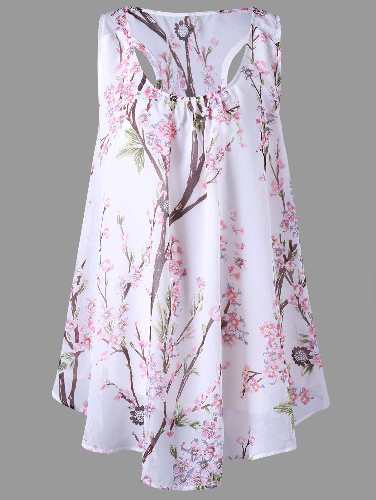 Tiny Floral Racerback Plus Size TopWOMEN<br><br>Size: 3XL; Color: WHITE; Material: Polyester; Shirt Length: Regular; Sleeve Length: Sleeveless; Collar: U Neck; Style: Casual; Season: Summer; Pattern Type: Floral; Weight: 0.2200kg; Package Contents: 1 x Top;