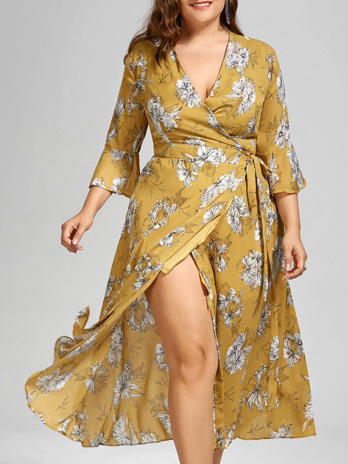 ece30471520 Outfit Plus Size Floral Maxi Wrap Dress