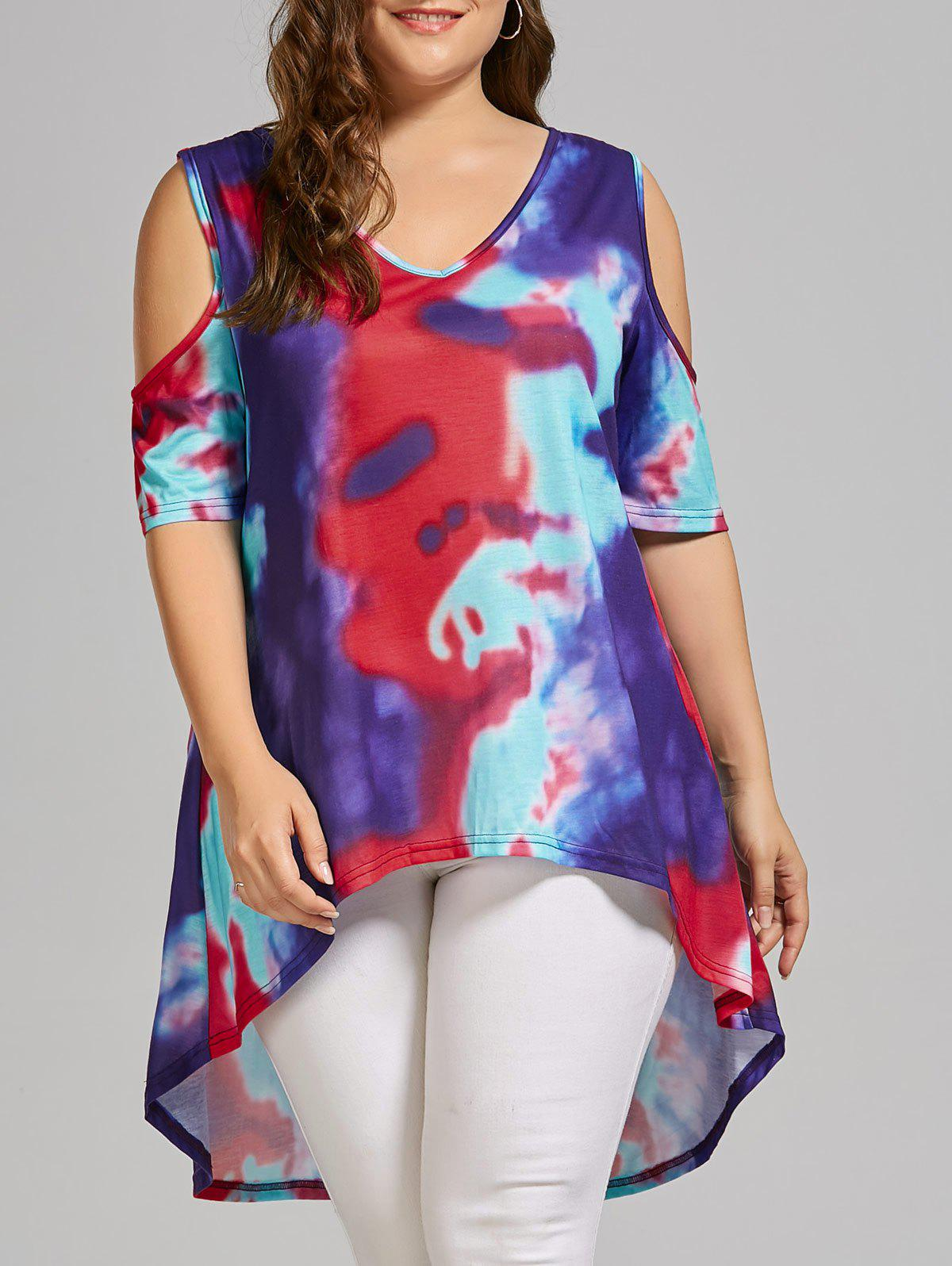 Plus Size Tie Dye High Low  Cold Shoulder T-shirtWOMEN<br><br>Size: 5XL; Color: MULTICOLOR; Material: Cotton,Cotton Blends,Polyester; Shirt Length: Long; Sleeve Length: Short; Collar: V-Neck; Style: Fashion; Season: Spring,Summer; Embellishment: Hollow Out; Pattern Type: Print; Weight: 0.2500kg; Package Contents: 1 x T-shirt;