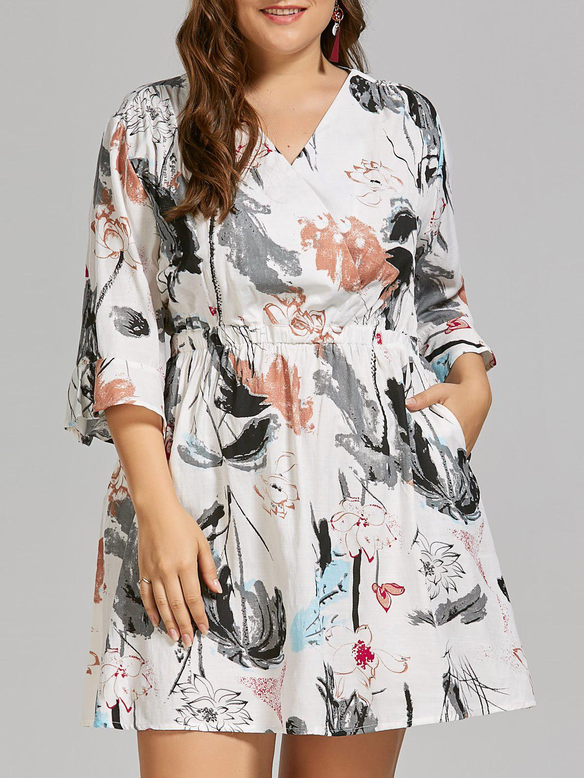 Plus Size Linen Ink Painting  Dress with Flare SleevesWOMEN<br><br>Size: 3XL; Color: WHITE; Style: Casual; Material: Cotton Blend,Linen,Polyester; Silhouette: A-Line; Dresses Length: Mini; Neckline: V-Neck; Sleeve Type: Flare Sleeve; Sleeve Length: 3/4 Length Sleeves; Waist: High Waisted; Embellishment: Adjustable Waist; Pattern Type: Print; With Belt: No; Season: Spring,Summer; Weight: 0.3000kg; Package Contents: 1 x Dress;