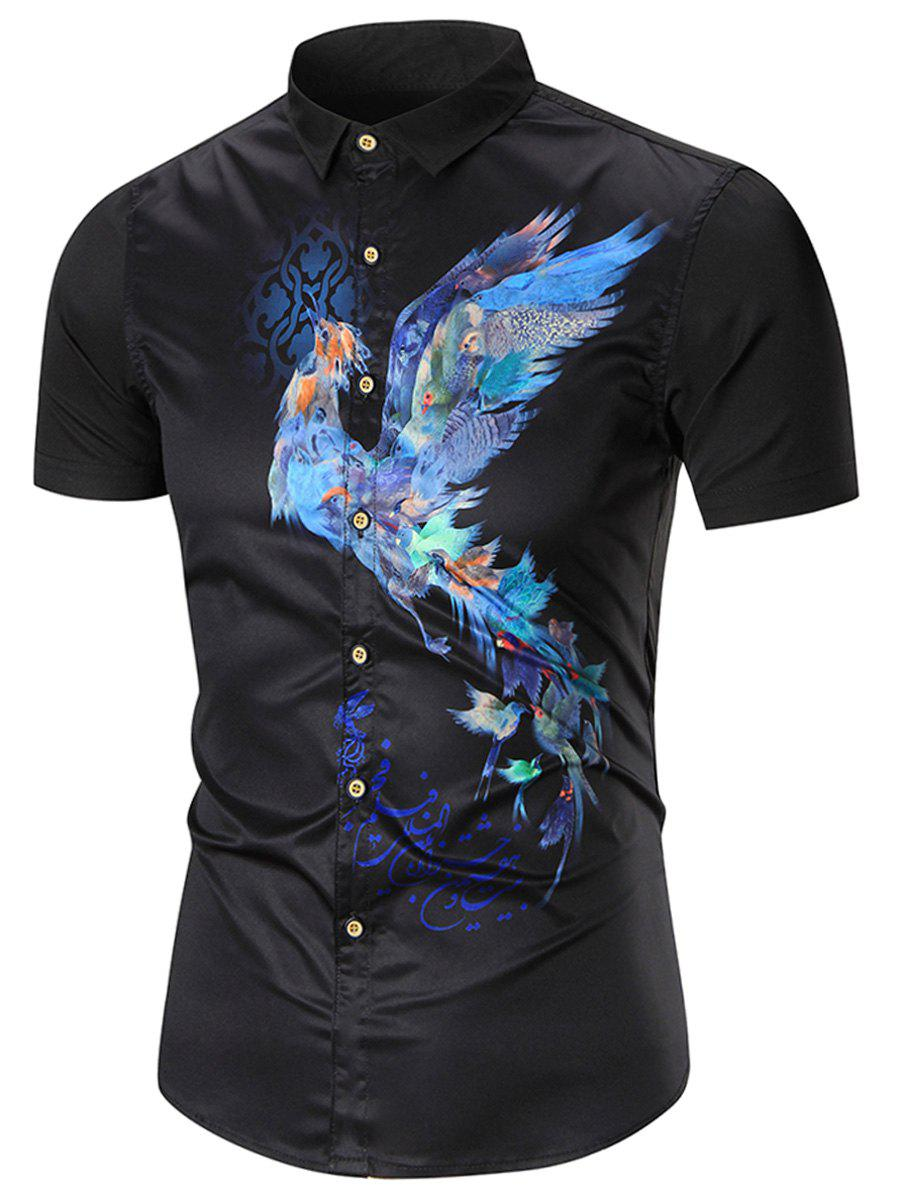 Black xl short sleeve bird print shirt for How to make a printed shirt