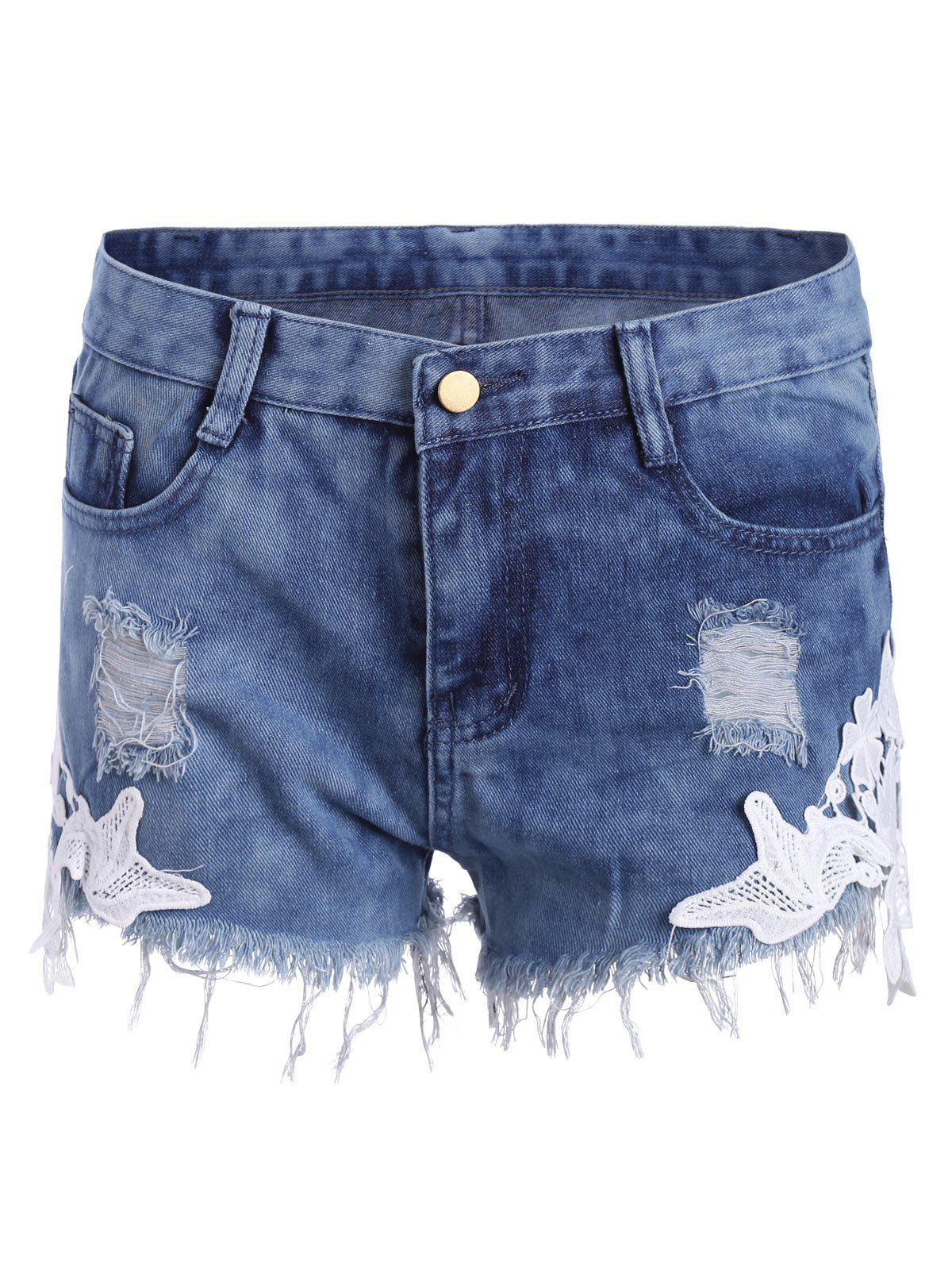 Trendy Lace Panel Ripped Denim Shorts