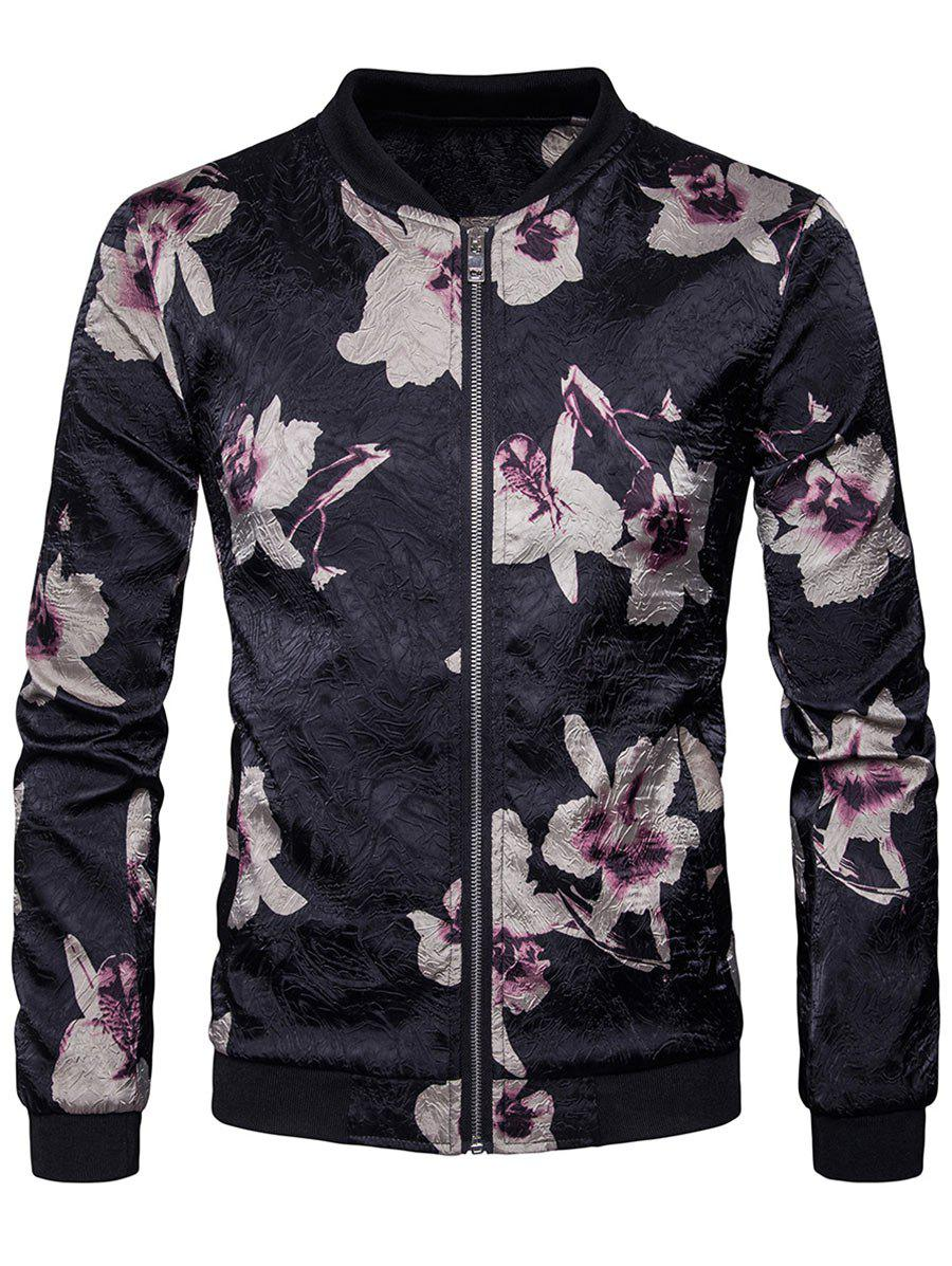 Hot Flower Printed Zip Up Bomber Jacket