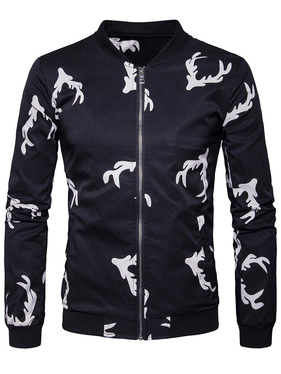 Elk Head imprimé Zip Up Bomber Jacket
