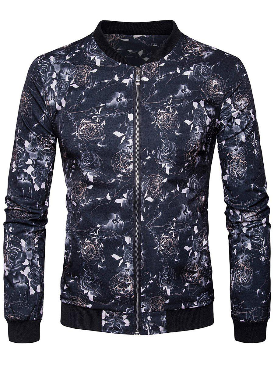 Outfit Zip Up Floral Printed Bomber Jacket