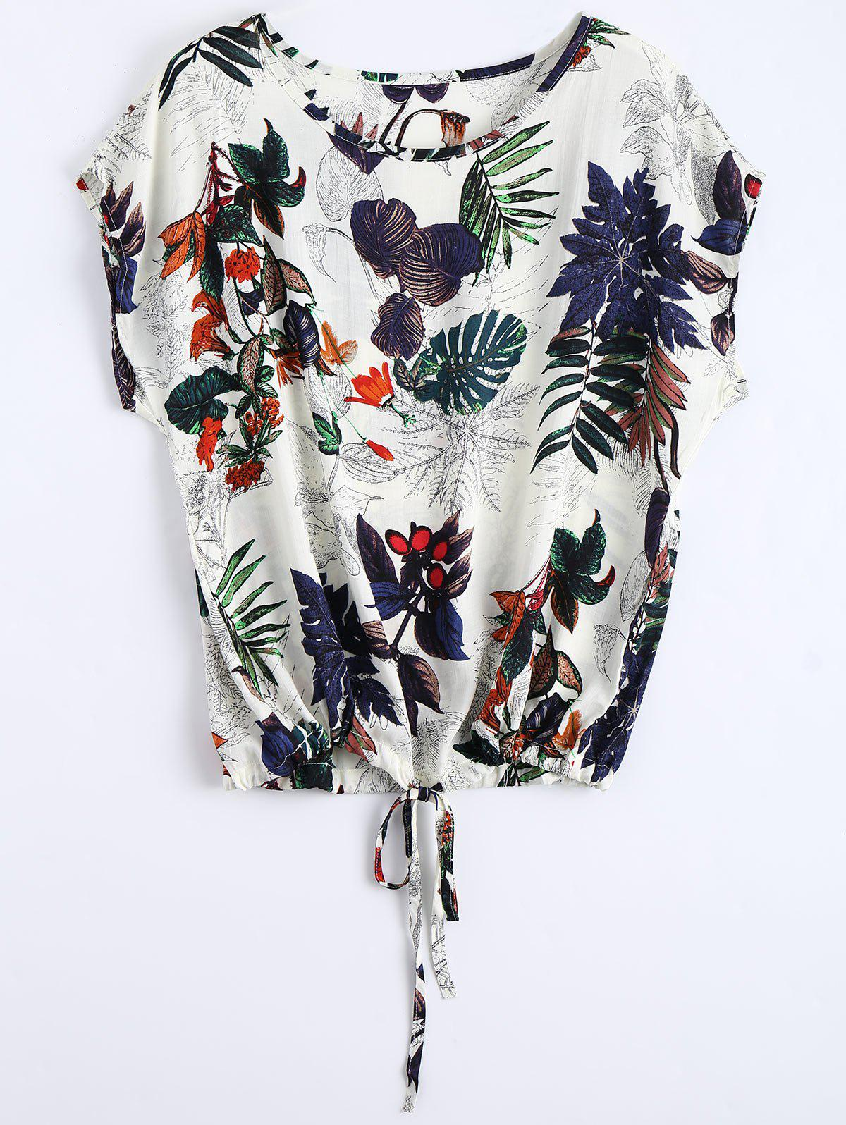 Round Neck Leaves Print Drawstring BlouseWOMEN<br><br>Size: ONE SIZE; Color: MULTI; Material: Polyester; Shirt Length: Long; Sleeve Length: Short; Collar: Round Neck; Pattern Type: Print; Style: Casual; Weight: 0.1500kg; Package Contents: 1 x Blouse; Occasion: Casual;