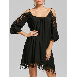 Lace Trim Cold Shoulder Mini Shift Dress - Black - Xl