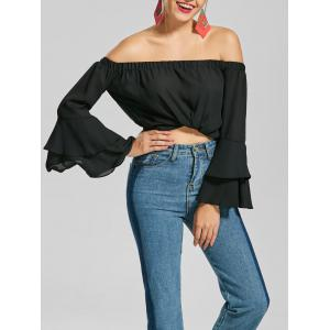Flare Sleeve Chiffon Off The Shoulder Top