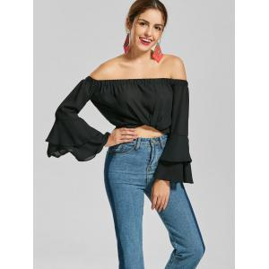 Flare Sleeve Chiffon Off The Shoulder Top - BLACK S