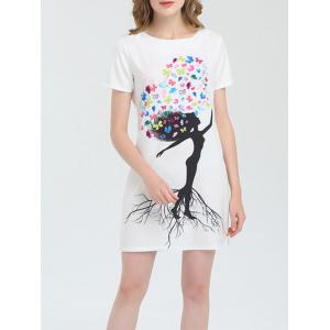 Short Sleeve Butterfly Print Mini Dress