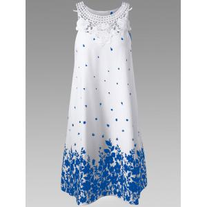 Casual Lace Panel Racerback Floral Tent Dress - Blue And White - Xl