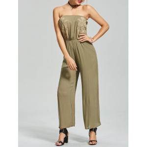 Embroidered Wide Leg Strapless Jumpsuit