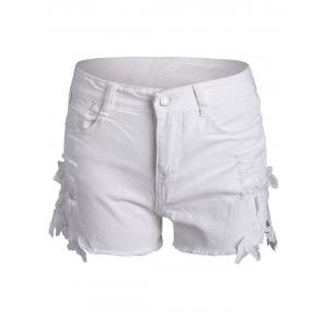 Lace Panel Ripped Denim Shorts